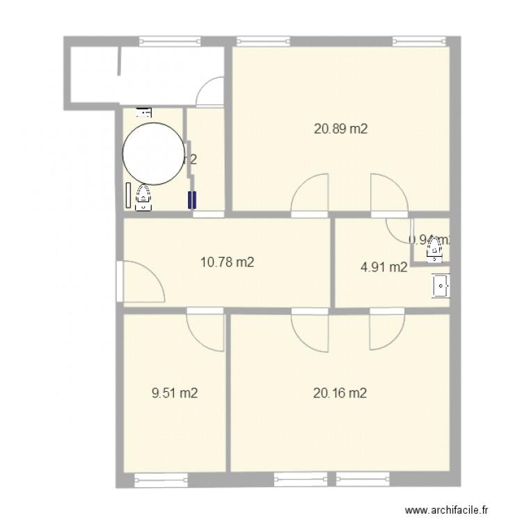 toilette ferm plan 7 pi ces 73 m2 dessin par paulodunord59. Black Bedroom Furniture Sets. Home Design Ideas