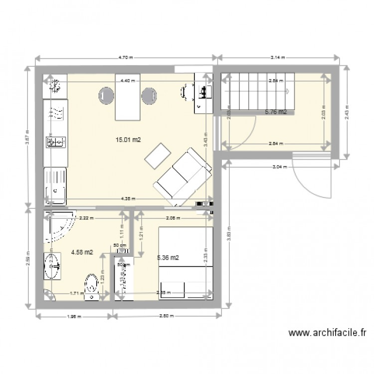 studio 25 m2 plan 4 pi ces 31 m2 dessin par goupillat. Black Bedroom Furniture Sets. Home Design Ideas