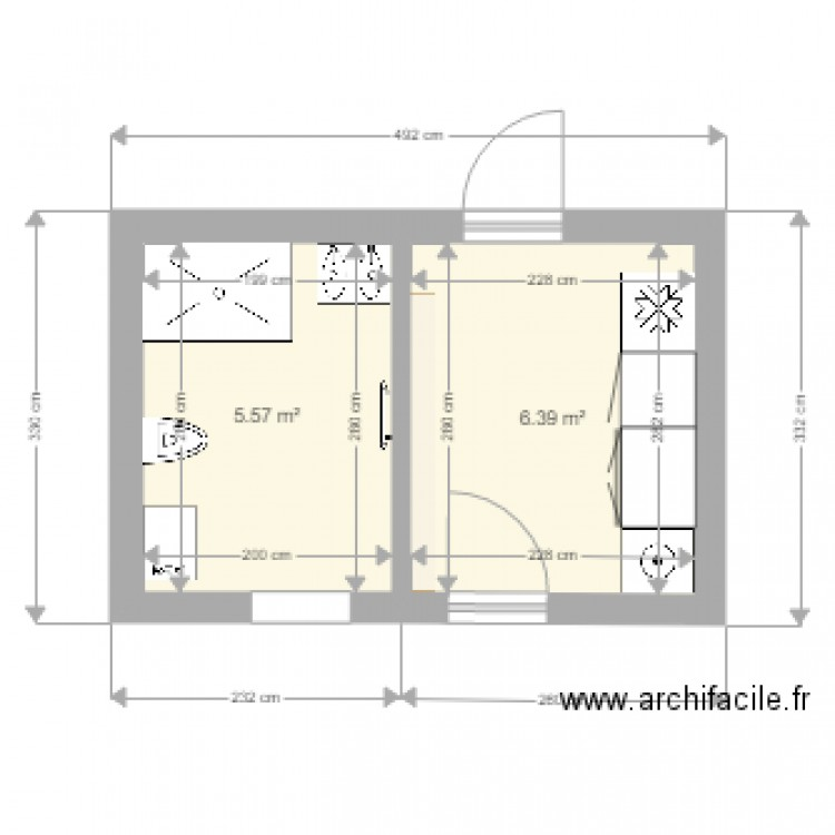 salle de bain arri re cuisine plan 2 pi ces 12 m2 dessin par oros. Black Bedroom Furniture Sets. Home Design Ideas