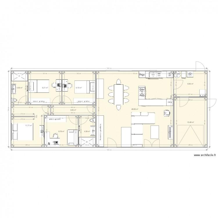 Maison 4 plan 10 pi ces 120 m2 dessin par gaetan16 - Plan appartement 120 m2 ...