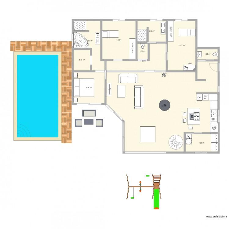 Plan maison plan 11 pi ces 140 m2 dessin par laeti24800 for Plan maison 140m2