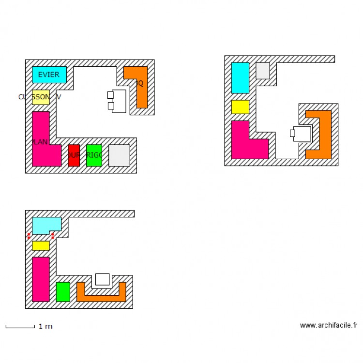 cuisine plan 17 pi ces 10 m2 dessin par erey. Black Bedroom Furniture Sets. Home Design Ideas