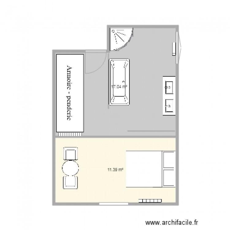 Chambre parentale plan 2 pi ces 28 m2 dessin par majik for Taille chambre parentale