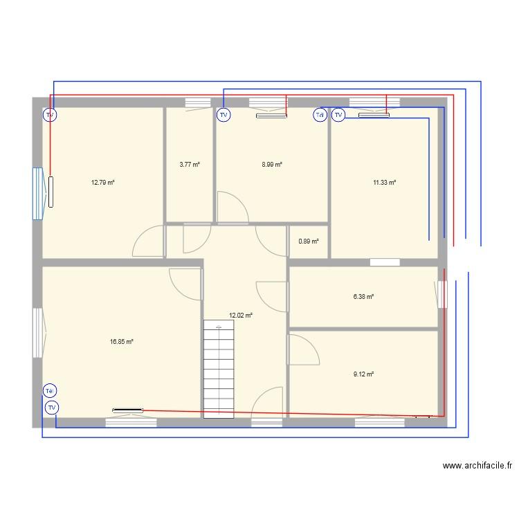 Chauffage rdc plan 9 pi ces 82 m2 dessin par mbouleau for Chauffage watt par m2