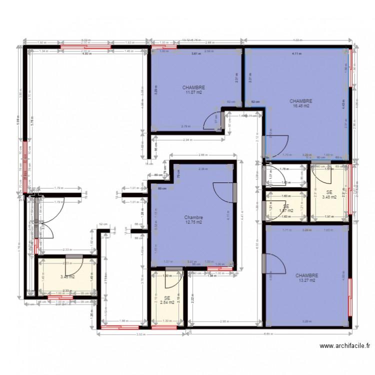 Roseline plan 8 pi ces 65 m2 dessin par lerenegard for Plan 65