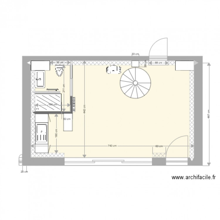 Plan cuisine et salle de bain plan 4 pi ces 29 m2 for Salle de bain 4 m2