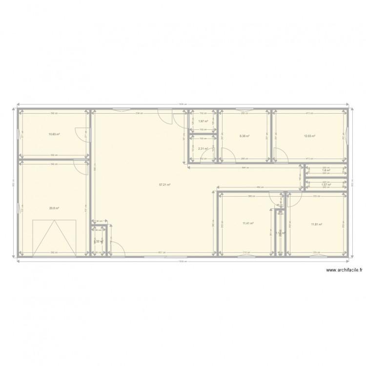 Maison plan 13 pi ces 142 m2 dessin par cee for Taille moyenne maison