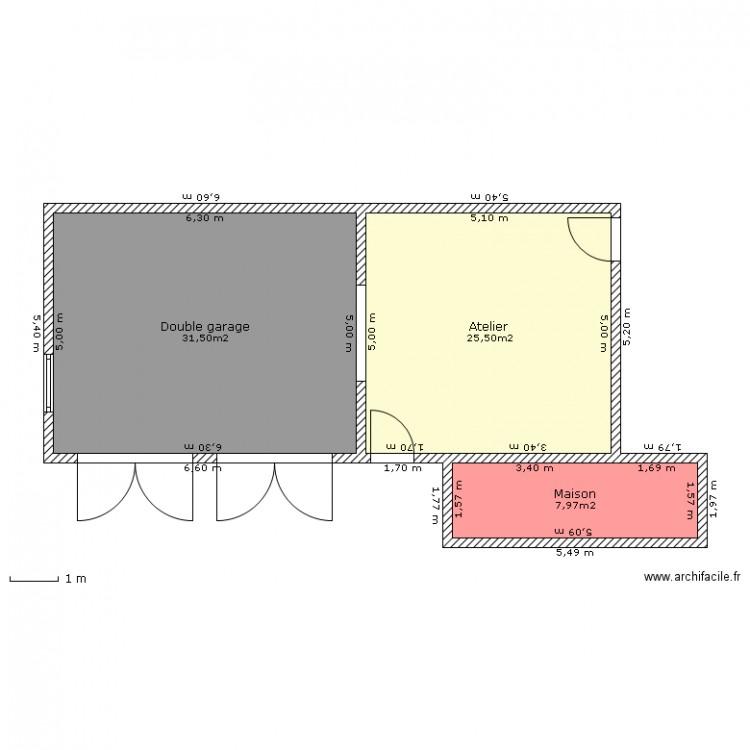 Double garage atelier plan 3 pi ces 65 m2 dessin par for Plan 65