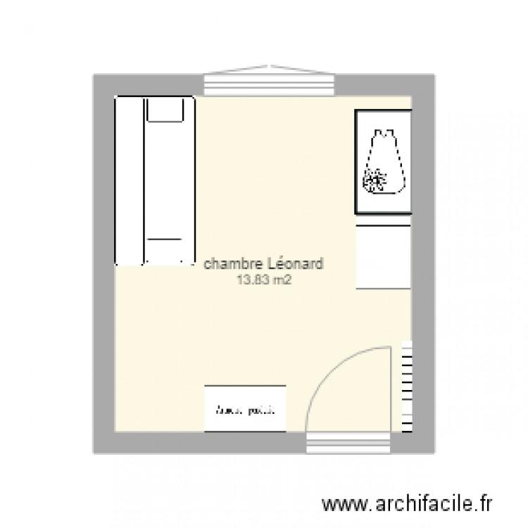 Chambre l onard plan 1 pi ce 14 m2 dessin par rastaplan for Chambre one piece