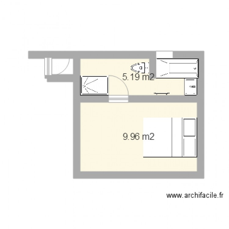 salle de bain michele plan 2 pi ces 15 m2 dessin par michelebrument. Black Bedroom Furniture Sets. Home Design Ideas