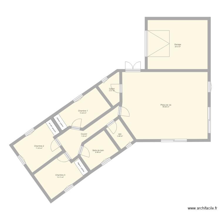 Maison V 100m2 Avec Garage Plan 9 Pieces 126 M2 Dessine Par Lalo0