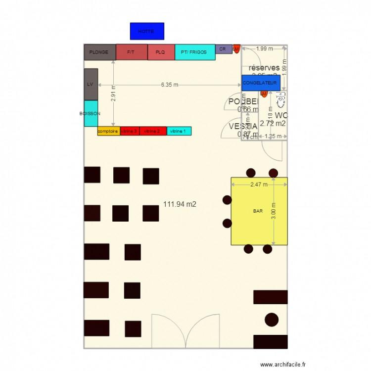 Plan restaurant plan 5 pi ces 120 m2 dessin par kikimae33 - Plan appartement 120 m2 ...