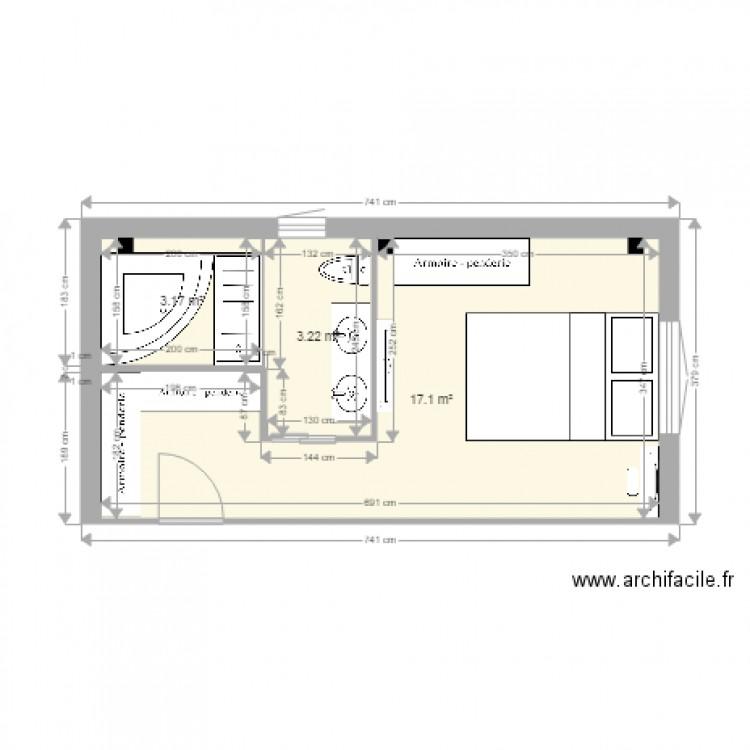 Chambre parentale avec baignoire angle plan 3 pi ces 23 for Taille chambre parentale