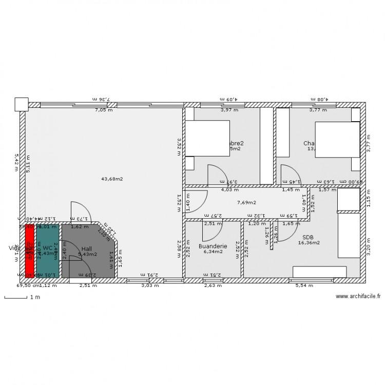Maison plein pied plan 9 pi ces 110 m2 dessin par casvin for Plan maison carree plein pied