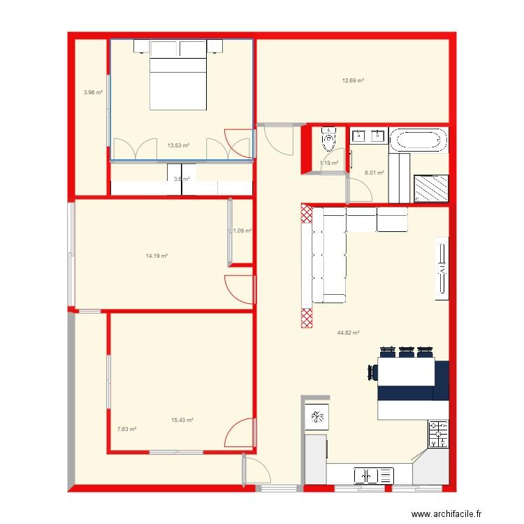 mes plan 10 pi ces 126 m2 dessin par wassila fella