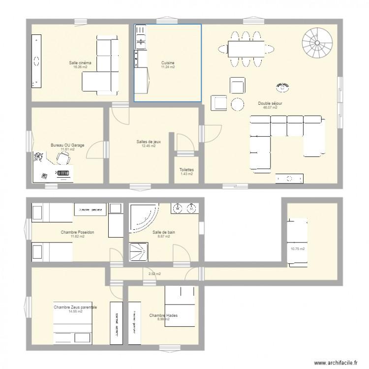 essai renovation grange plan 12 pi ces 157 m2 dessin par maxou081614. Black Bedroom Furniture Sets. Home Design Ideas