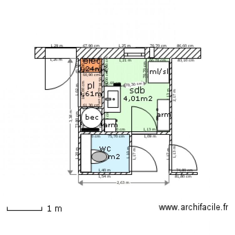 Sdb wc placard technique plan 5 pi ces 7 m2 dessin par for Placard sdb