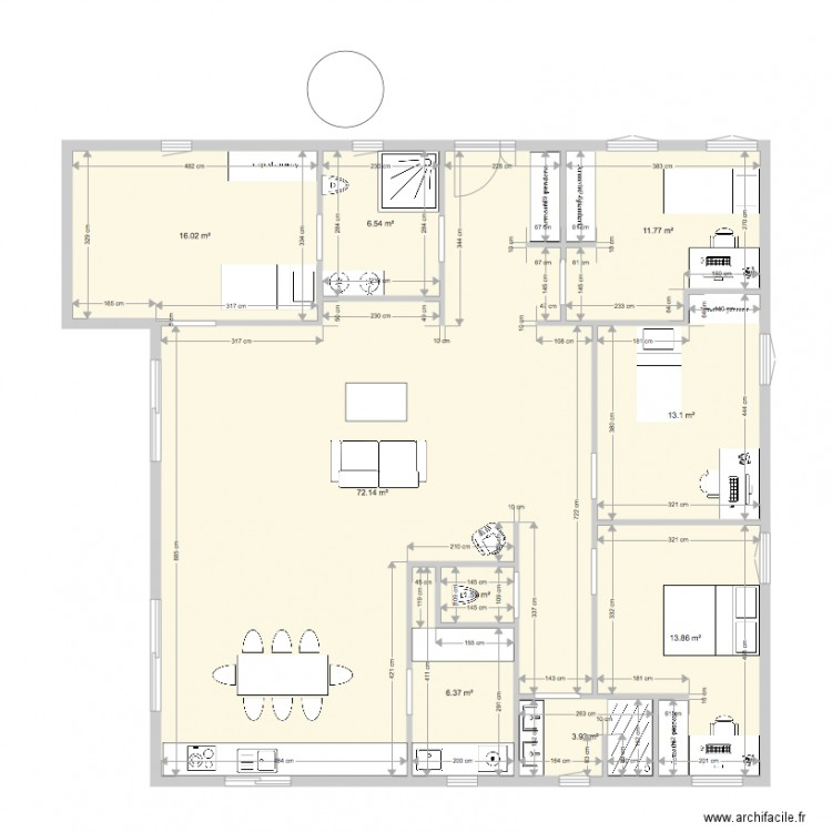 cube plan 9 pi ces 145 m2 dessin par vivien vacher. Black Bedroom Furniture Sets. Home Design Ideas