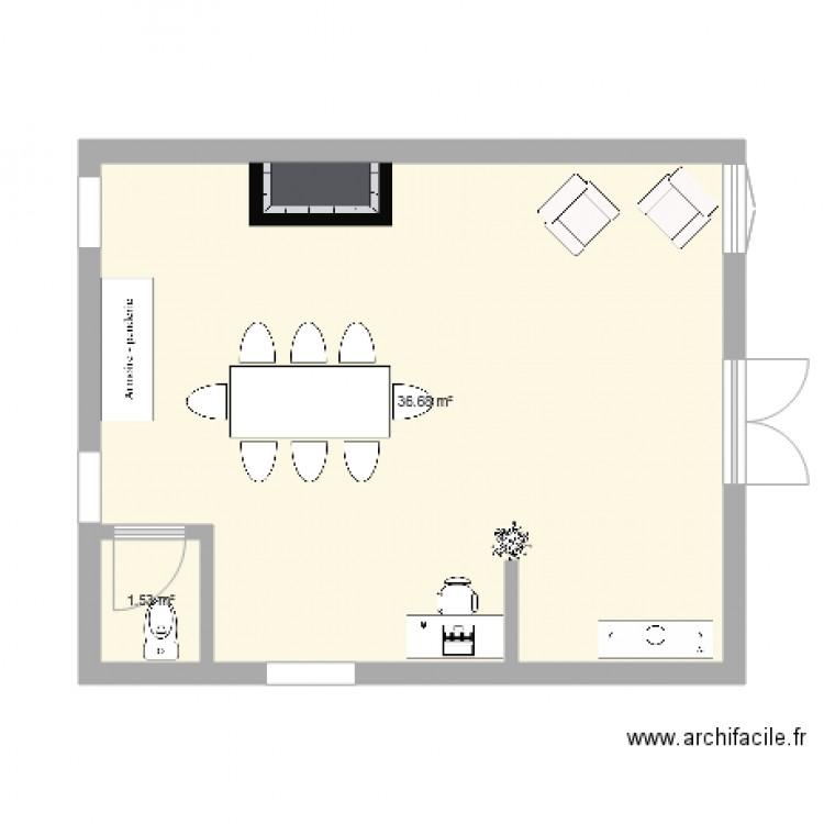 Plan Buanderie buanderie - plan 2 pièces 38 m2 dessiné par manonmntlbn