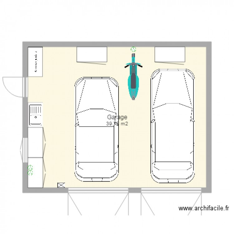 Garage 2 voitures plan 1 pi ce 40 m2 dessin par mej63 for Dimension standard porte de garage double