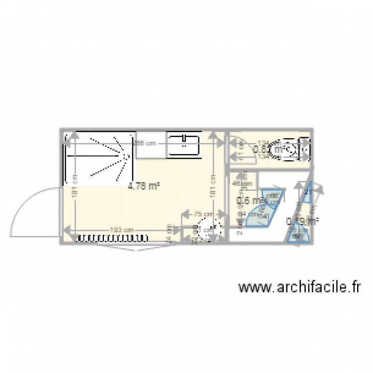 salle de bains 2 plan 4 pi ces 6 m2 dessin par michelchelmi. Black Bedroom Furniture Sets. Home Design Ideas