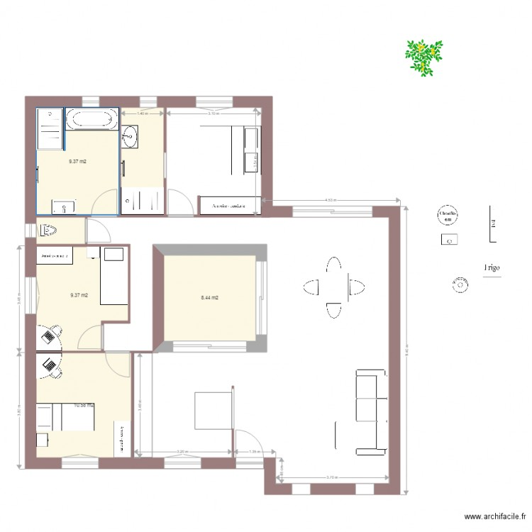 Maison beber patio plan 6 pi ces 44 m2 dessin par beber2909 for Dessiner plan patio