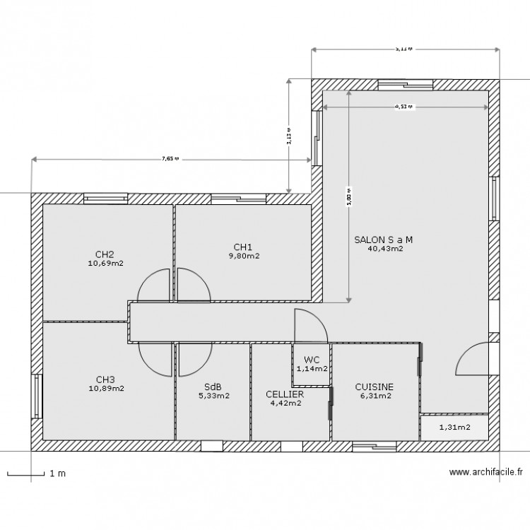 Plan intrieur maison plan maison plain pied avec patio for Amnagement intrieur maison