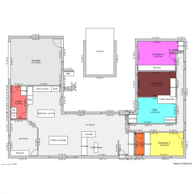 Maison u 19 01 2010 plan 9 pi ces 161 m2 dessin par for Taille moyenne maison