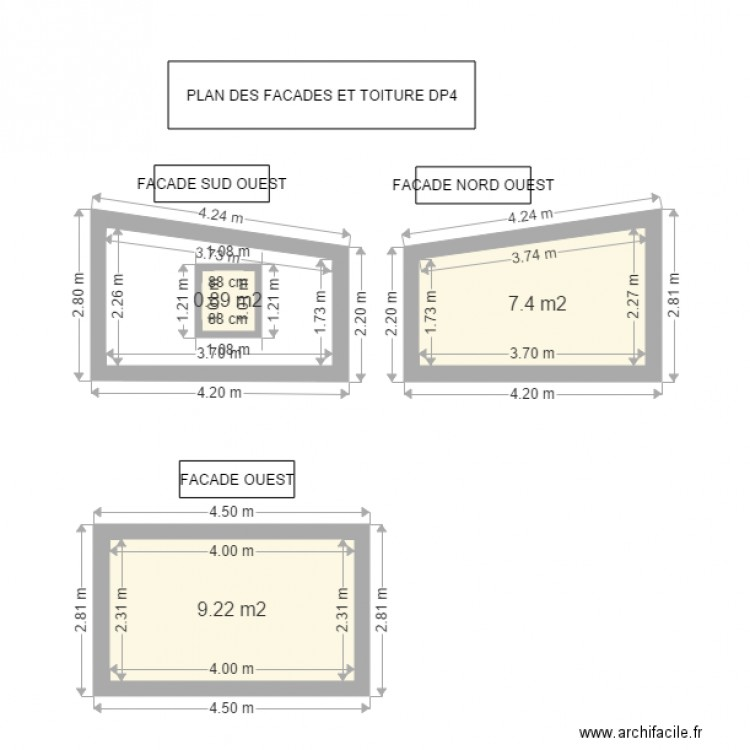 Plan des facades et toitures dp4 1ere partie plan 3 pi ces 18 m2 dessin par gaetanleleux - Plan des facades et des toitures ...