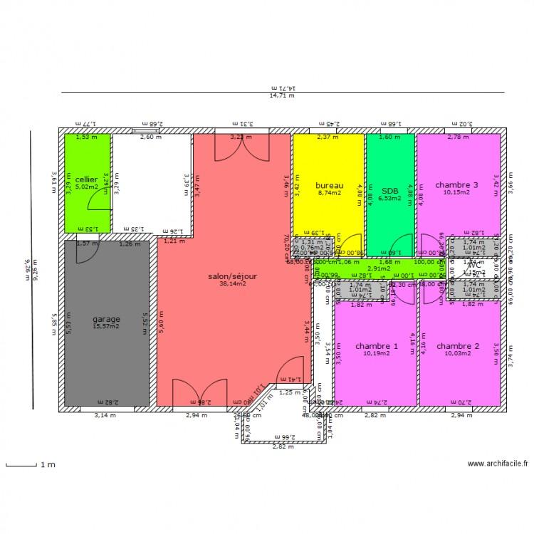 Maison vestale 103 m2 plan 14 pi ces 112 m2 dessin par for Maison vestale