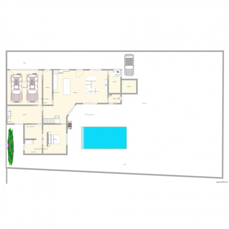 rez de chauss maison plan 9 pi ces 182 m2 dessin par guillaumed51. Black Bedroom Furniture Sets. Home Design Ideas