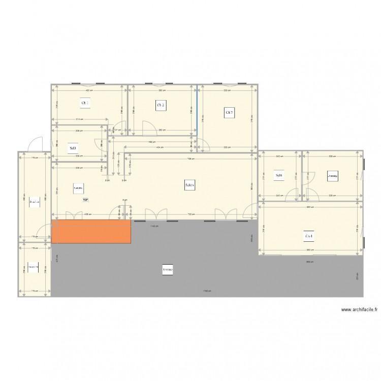 Maison plan 5 pi ces 84 m2 dessin par gatqa for Plan de maison 5 pieces