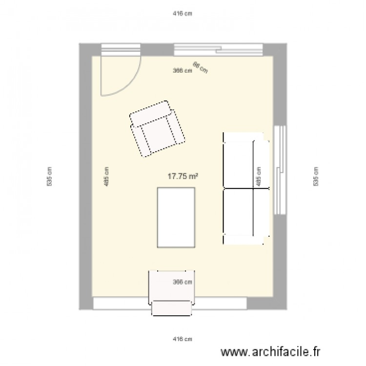 fr crespel plan 1 pi ce 18 m2 dessin par la maison des travaux caen ouistreham. Black Bedroom Furniture Sets. Home Design Ideas