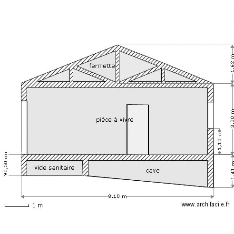 Plan de coupe avec cave plan 10 pi ces 31 m2 dessin par mathilde81 - Exemple de plan de coupe ...