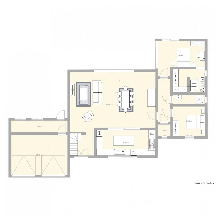 plan de maison 2 plan 9 pi ces 145 m2 dessin par donibane. Black Bedroom Furniture Sets. Home Design Ideas
