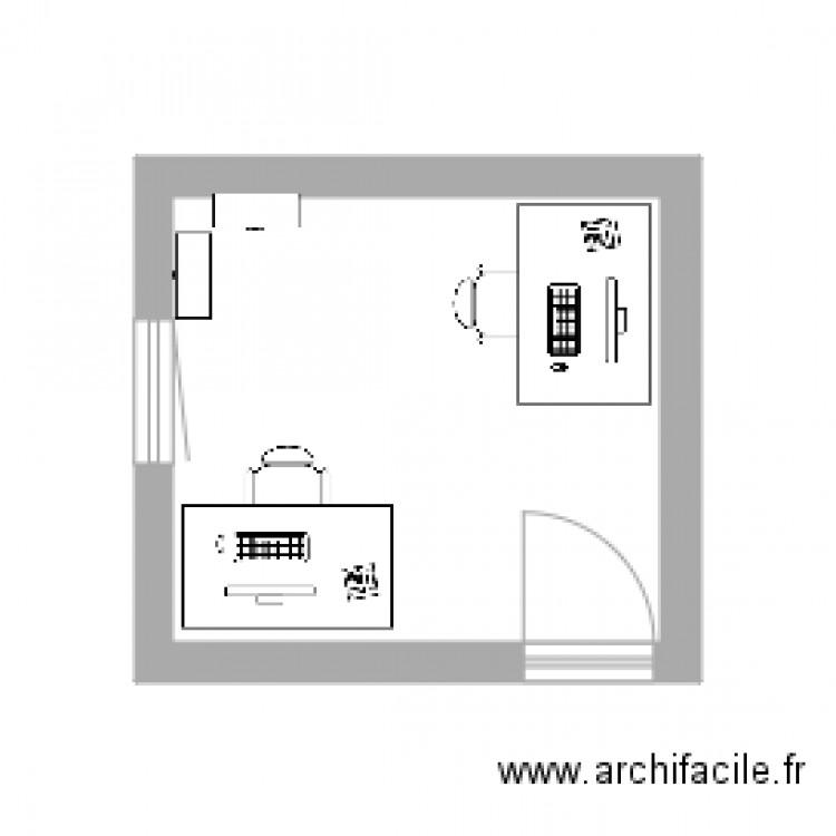 Bureau plan 1 pi ce 9 m2 dessin par mcaporto for Nombre de m2 par personne bureau