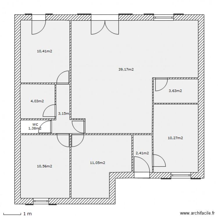 Maison plain pied 2 plan 10 pi ces 96 m2 dessin par for Plan de maison 5 pieces