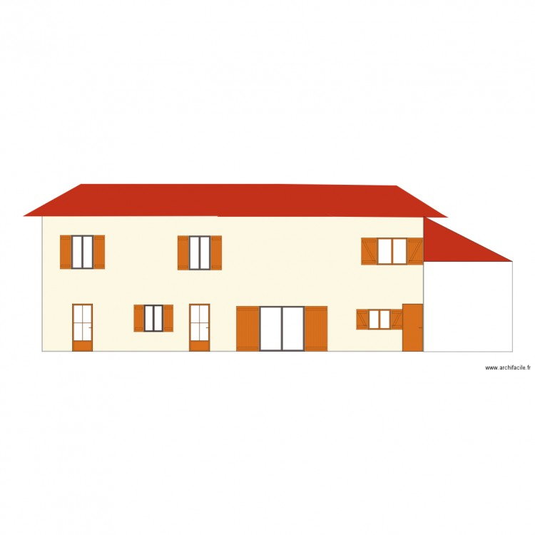 facade sud plan 1 pi ce 101 m2 dessin par fannyventaja. Black Bedroom Furniture Sets. Home Design Ideas