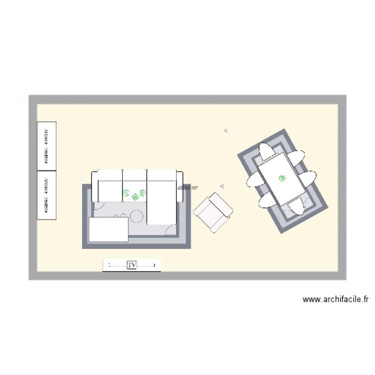 Salon salle a manger plan 1 pi ce 47 m2 dessin par for Salon salle a manger 70 m2