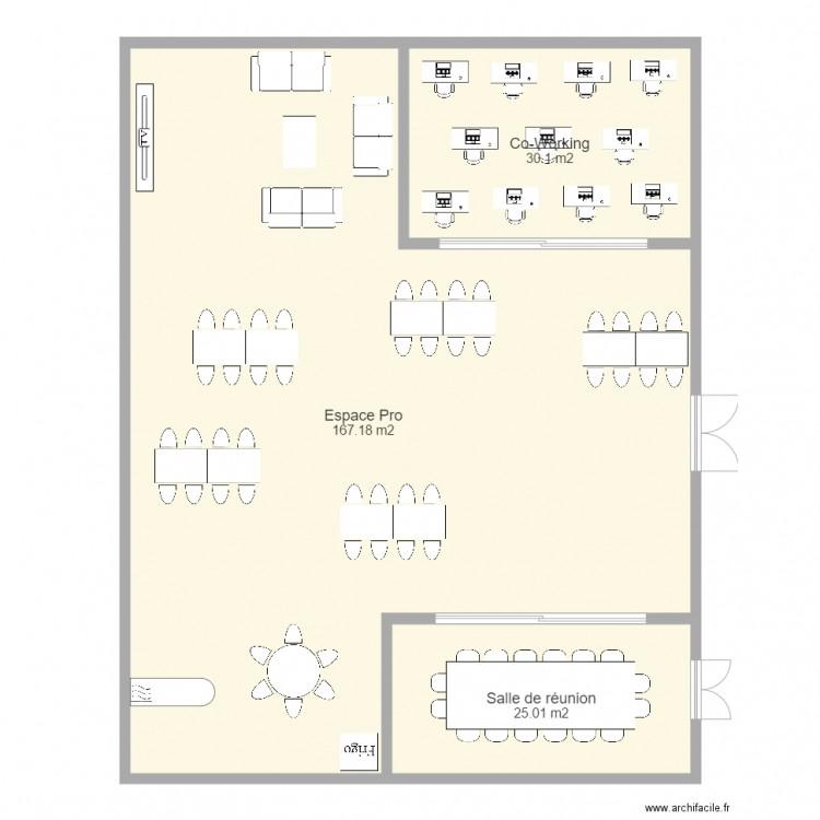 Projet bureau 2 plan 3 pi ces 222 m2 dessin par usb soft for Nombre de m2 par personne bureau