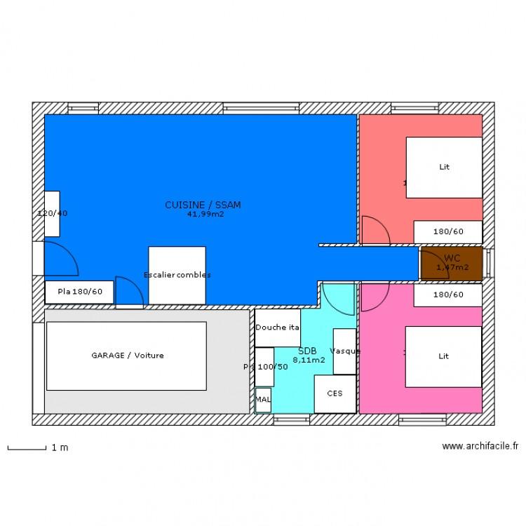 maison f3 garage n 1 plan 6 pi ces 89 m2 dessin par lts2506