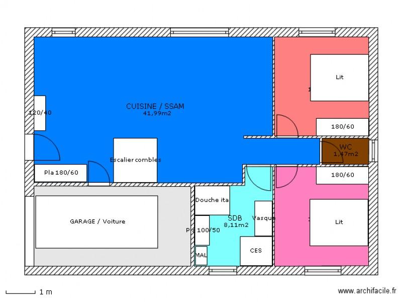 Plan maison f3 for Plan de maison f5