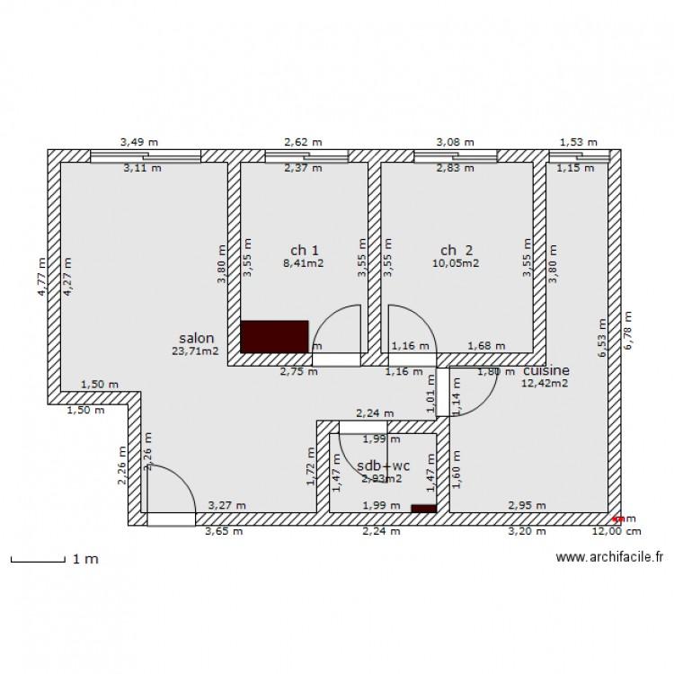 Maison t3 maroc ok plan 5 pi ces 58 m2 dessin par doppel33 for Plan maison t3