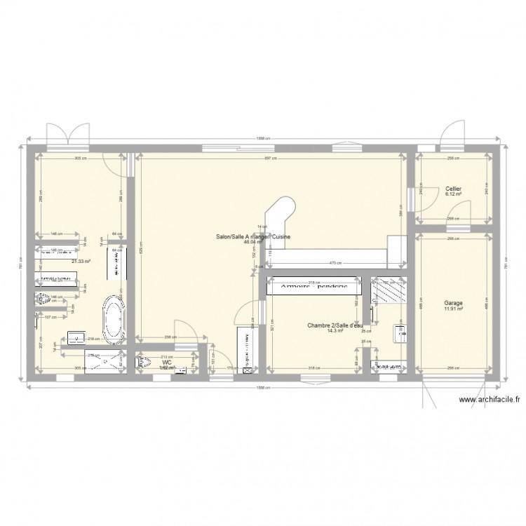 Maison plan 6 pi ces 101 m2 dessin par luciejsb for Modifier plan maison