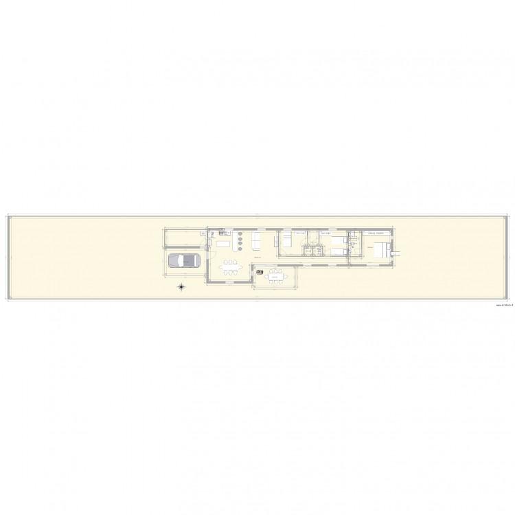 plan maison terrain etroit plan 8 pi ces 639 m2 dessin par thierry sauret. Black Bedroom Furniture Sets. Home Design Ideas