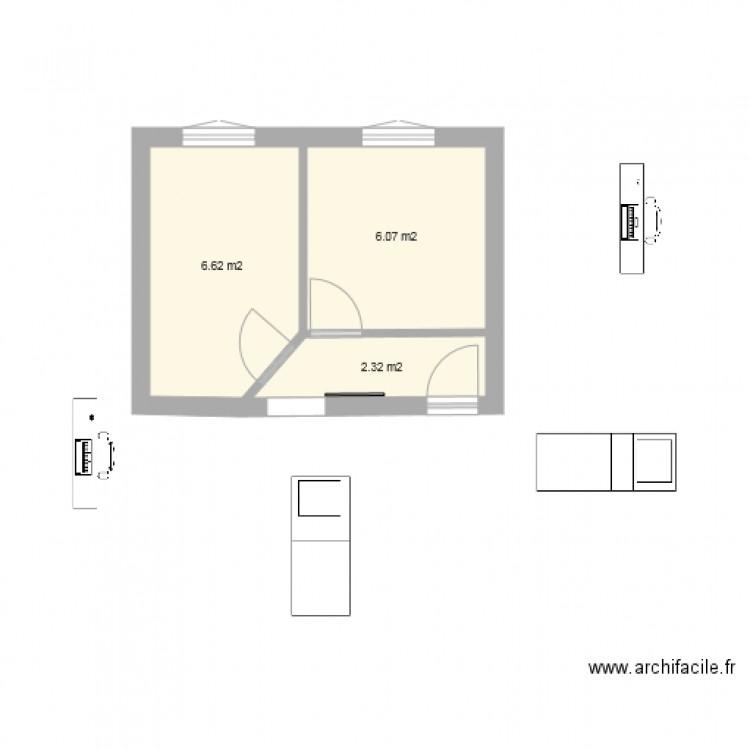 Chambre plan 3 pi ces 15 m2 dessin par pierrealisse for Taille moyenne chambre