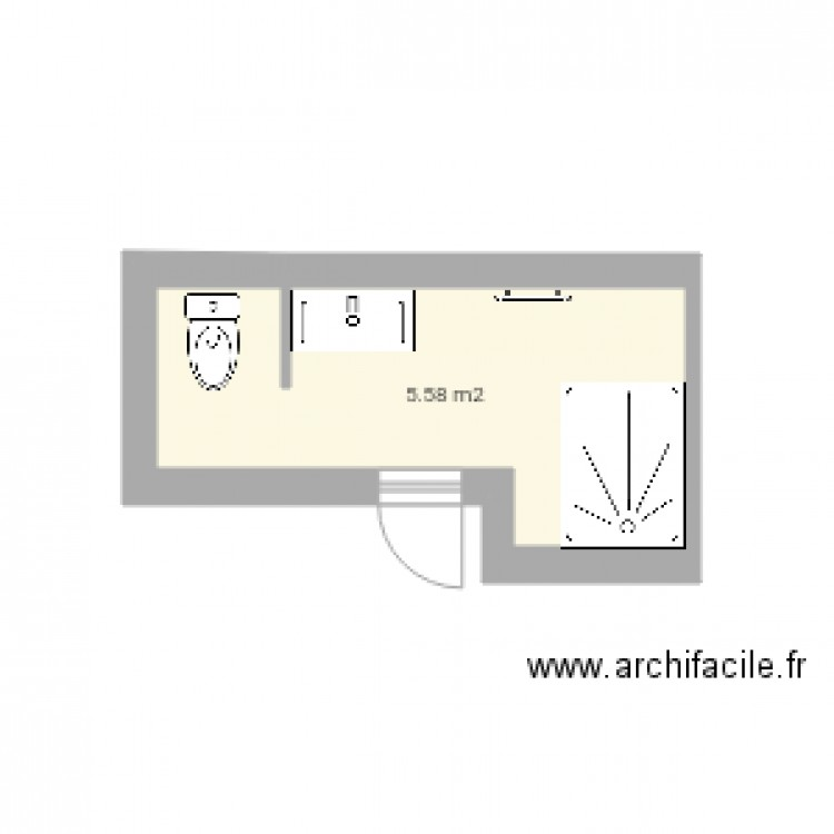 salle de bain plan 1 pi ce 6 m2 dessin par soune6301. Black Bedroom Furniture Sets. Home Design Ideas
