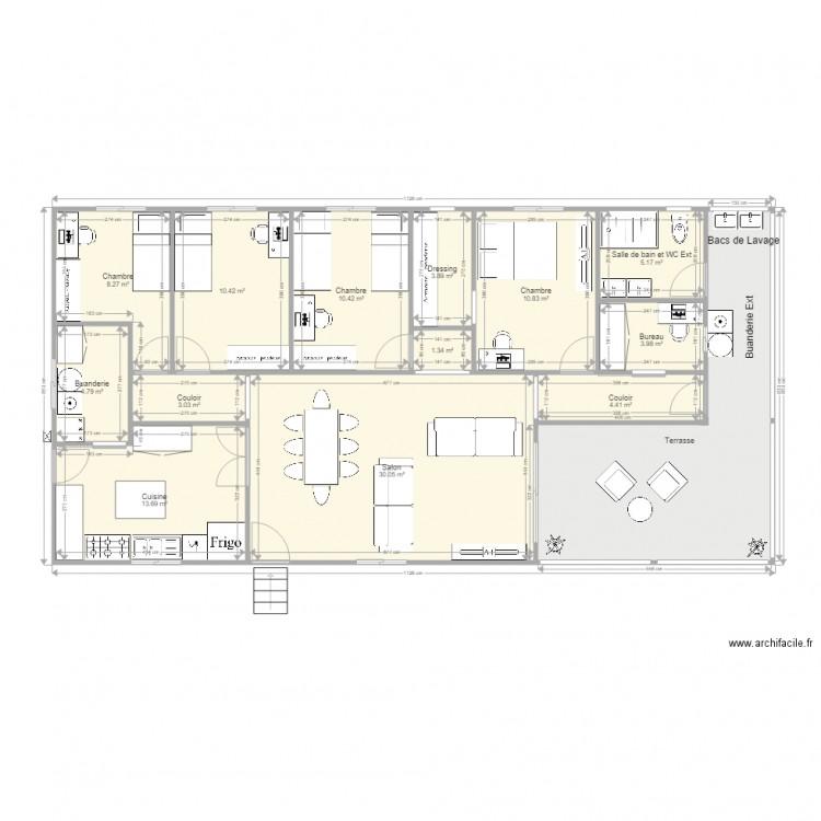 Maison f5 sans garage bis plan 14 pi ces 136 m2 dessin for Plan de maison f5