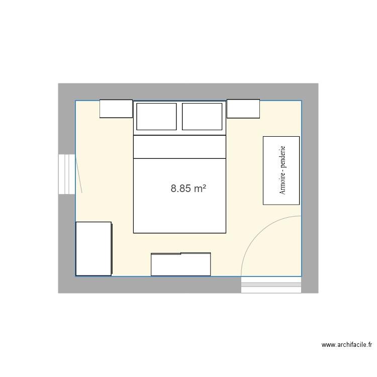 Chambre plan 1 pi ce 9 m2 dessin par murieldrut for Chambre 9 m2 minimum