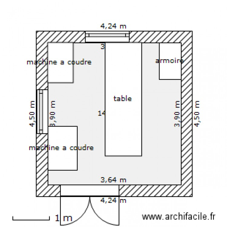 atelier de couture plan 1 pi ce 14 m2 dessin par mika16. Black Bedroom Furniture Sets. Home Design Ideas